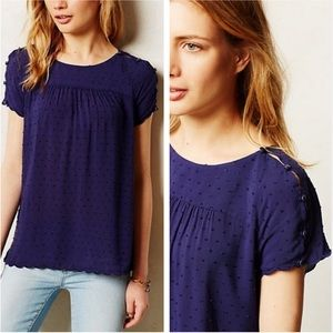 Maeve Anthropologie Clipdot Scalloped Top Blue 2